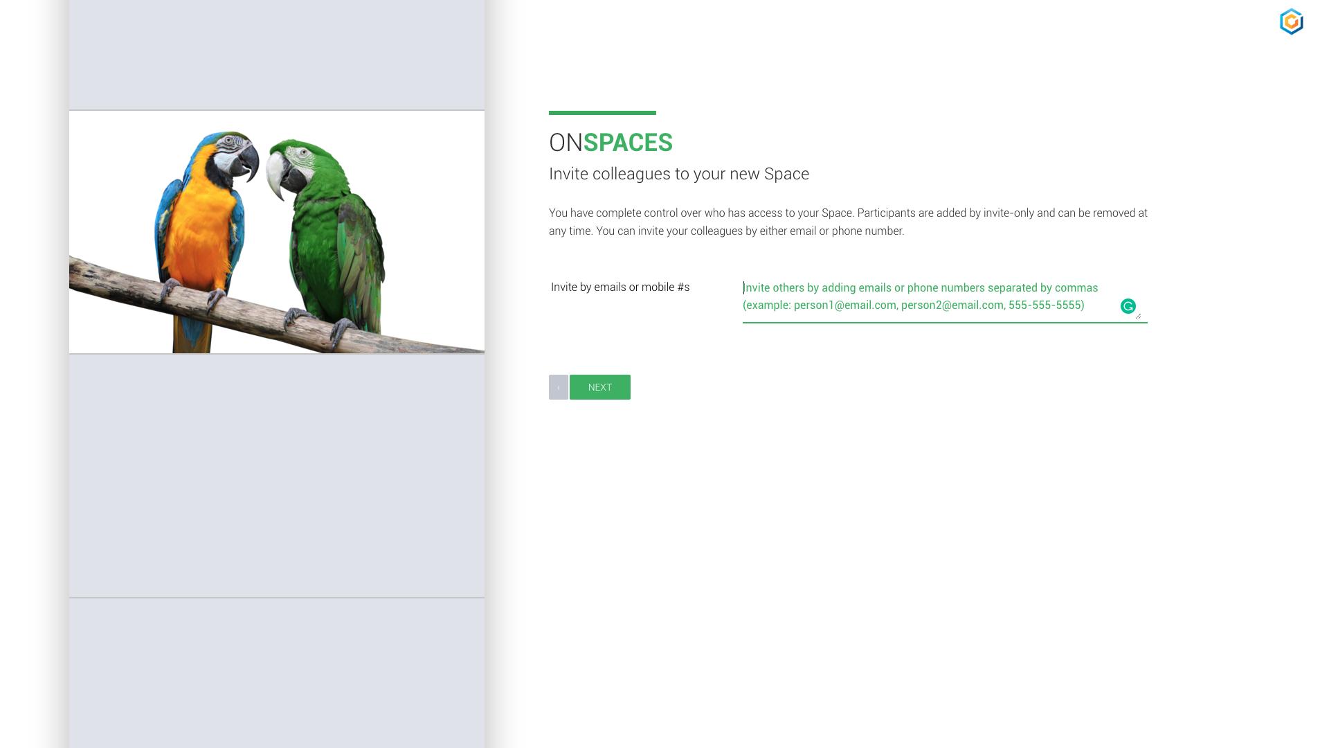 Spaces Invite Screen