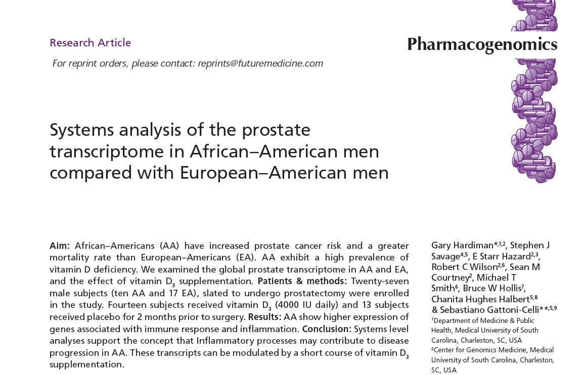 Prostate cancer, racial disparities and Vitamin D3